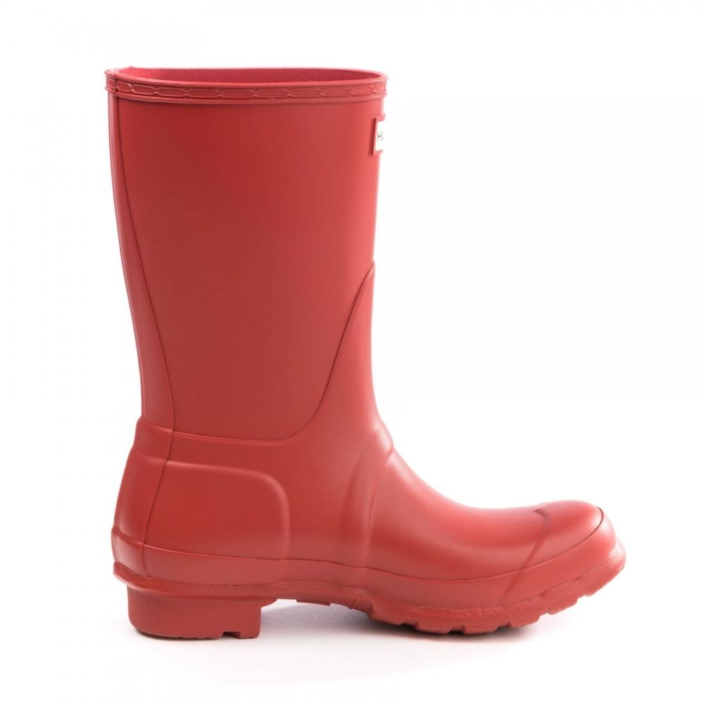 HUNTER Rubber Original Short Ladies Wellington Boots in Military Red (Red)