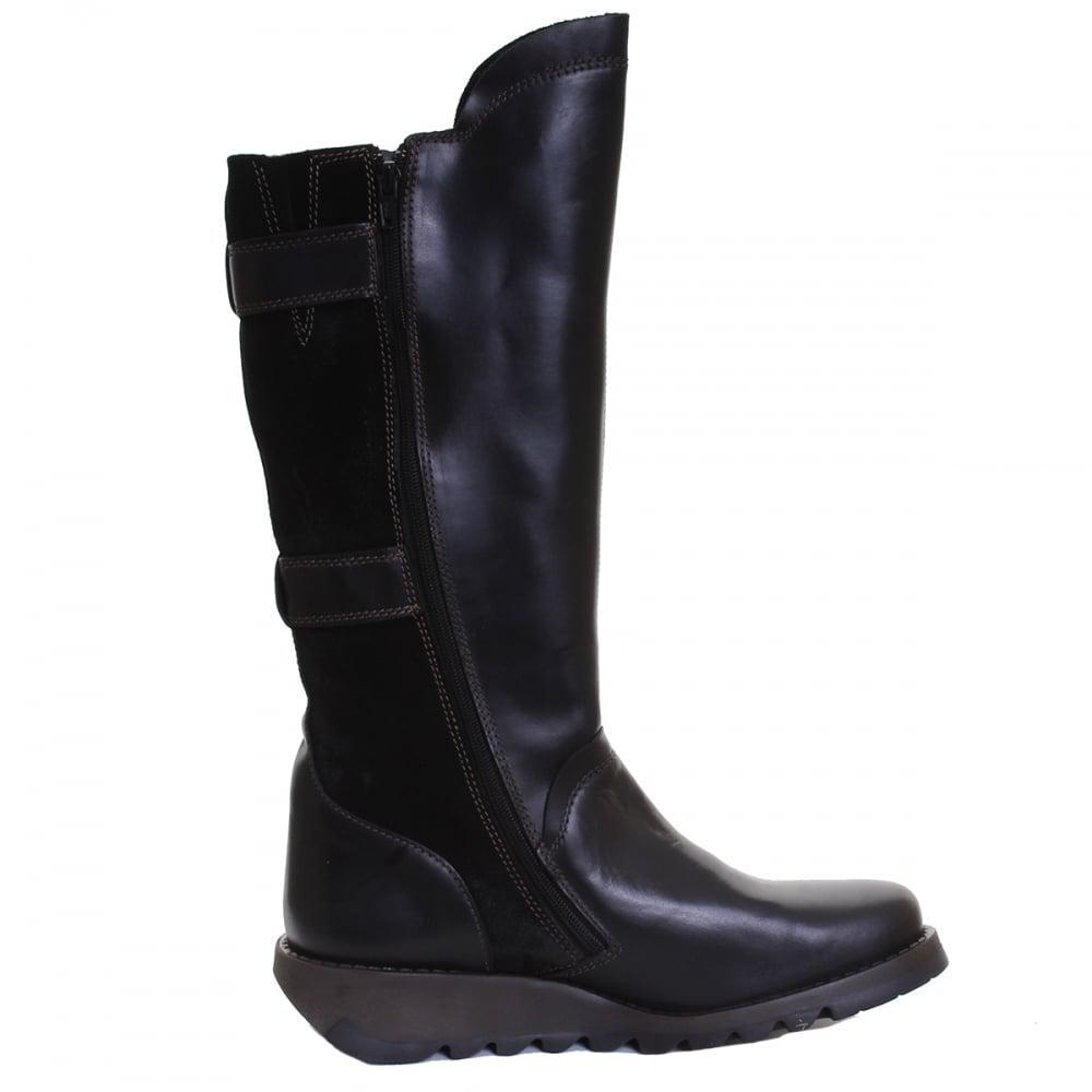Fly London Synd Ladies Suede Boot in Black/Black (Black)