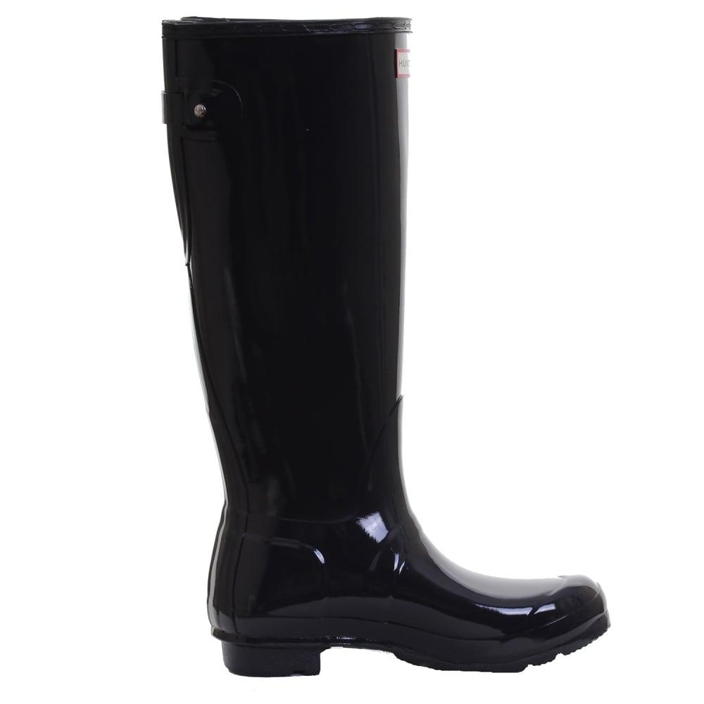 HUNTER Rubber Original Back Adjustable Gloss Ladies Wellington Boots in Navy (Blue)