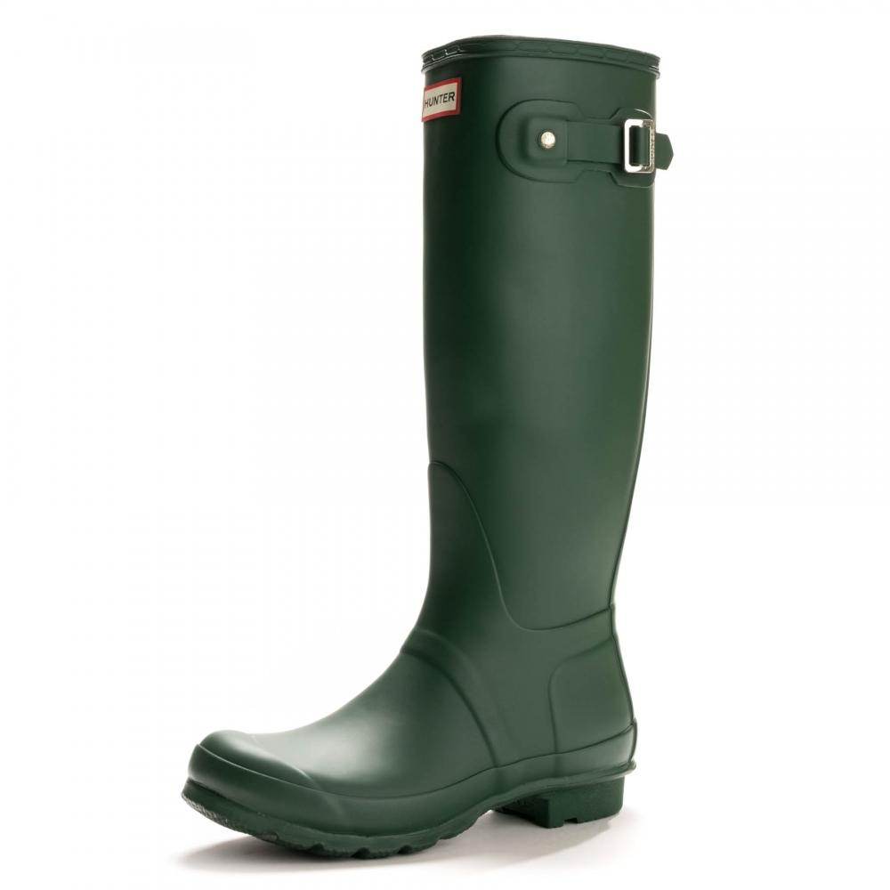 HUNTER Rubber Original Tall Ladies Wellington Boots in Green - Save 52%