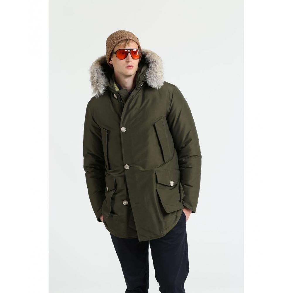 Woolrich Fur Arctic Parka Slim Padded Coat In Dark Green Green For Men Lyst