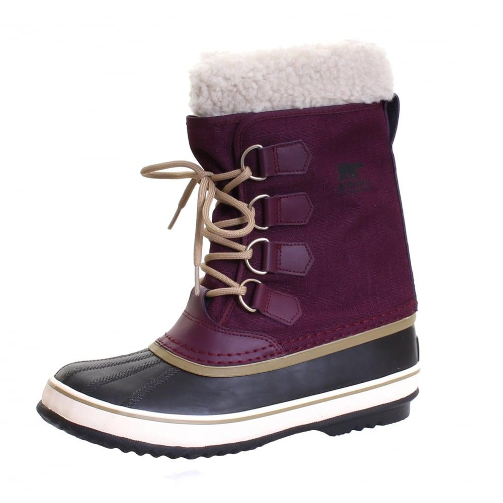 Sorel Winter Carnival Faux Shearling-lined Waterproof Duck Boots in Purple