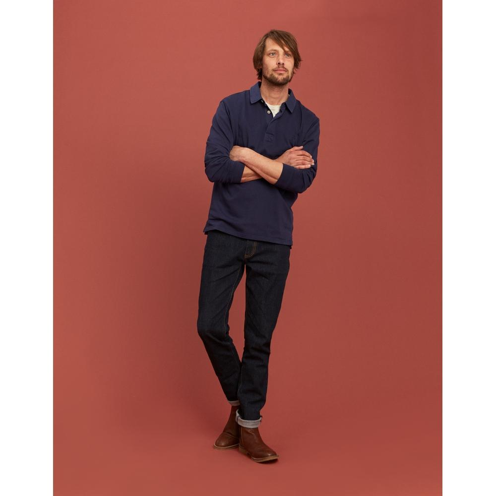 Z Joules Parkside Long Sleeve Slub Mens Polo Shirt