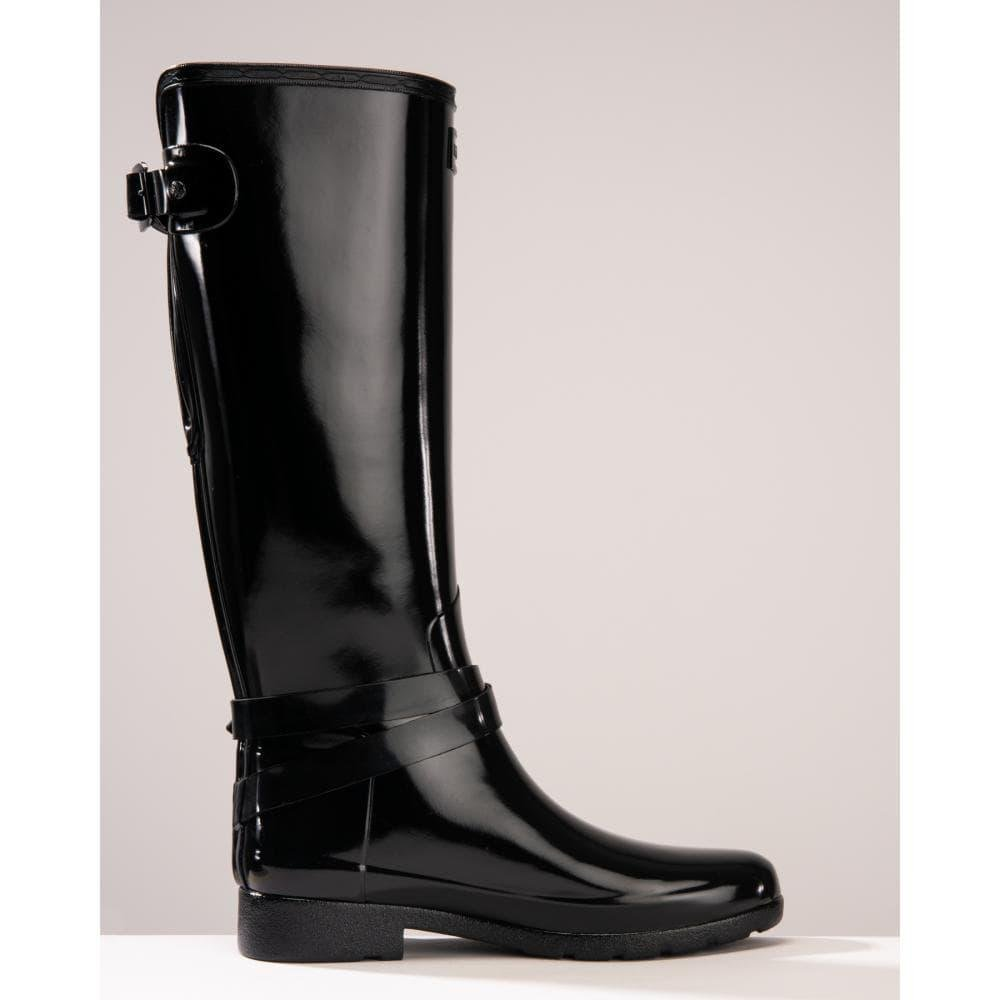 New Womens Refined Adjustable Tall Ankle Strap Hunter Wellington Boots Black