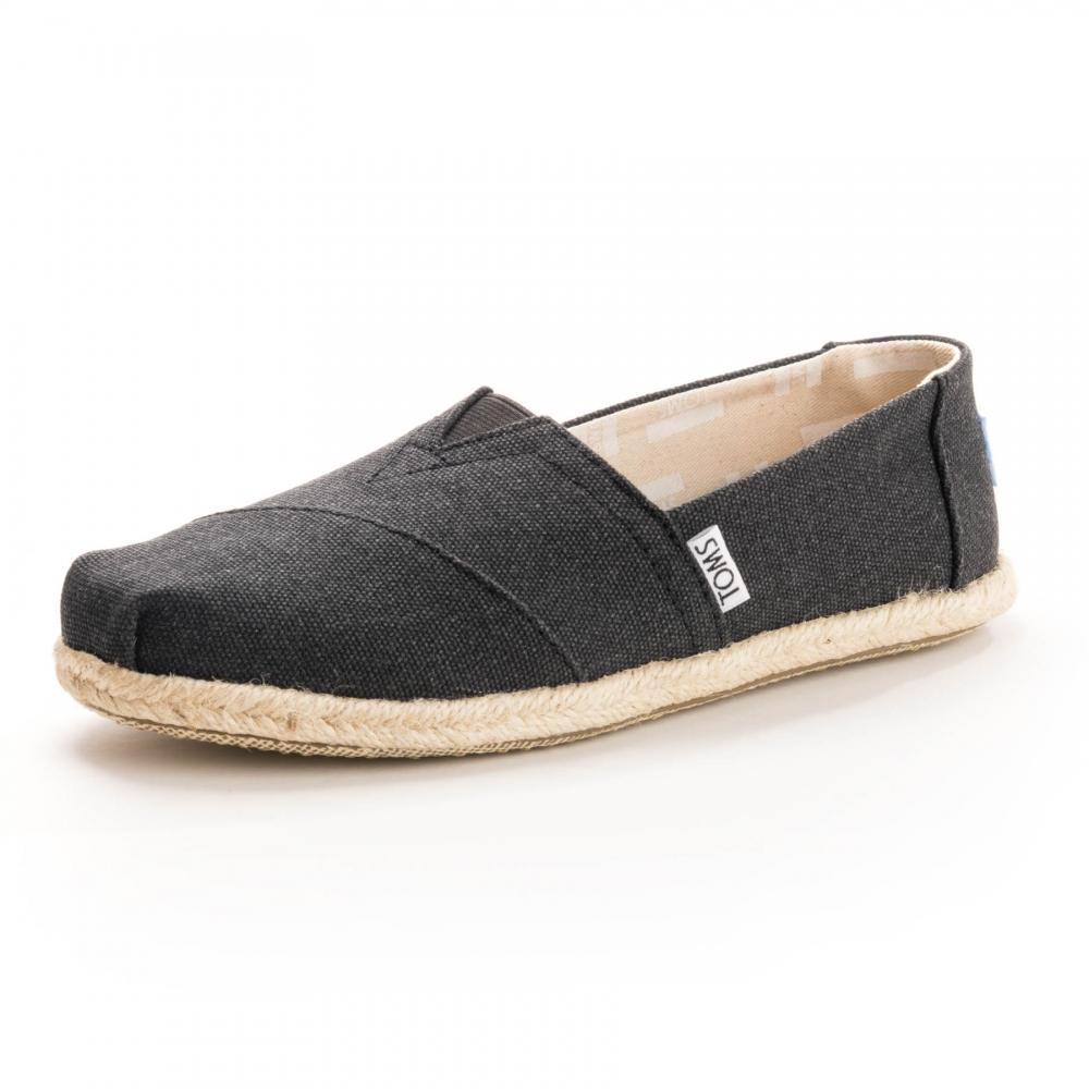 Toms Alpargata Black Washed Canvas Rope Sole Womens Espadrille in ... 0022c5973e0