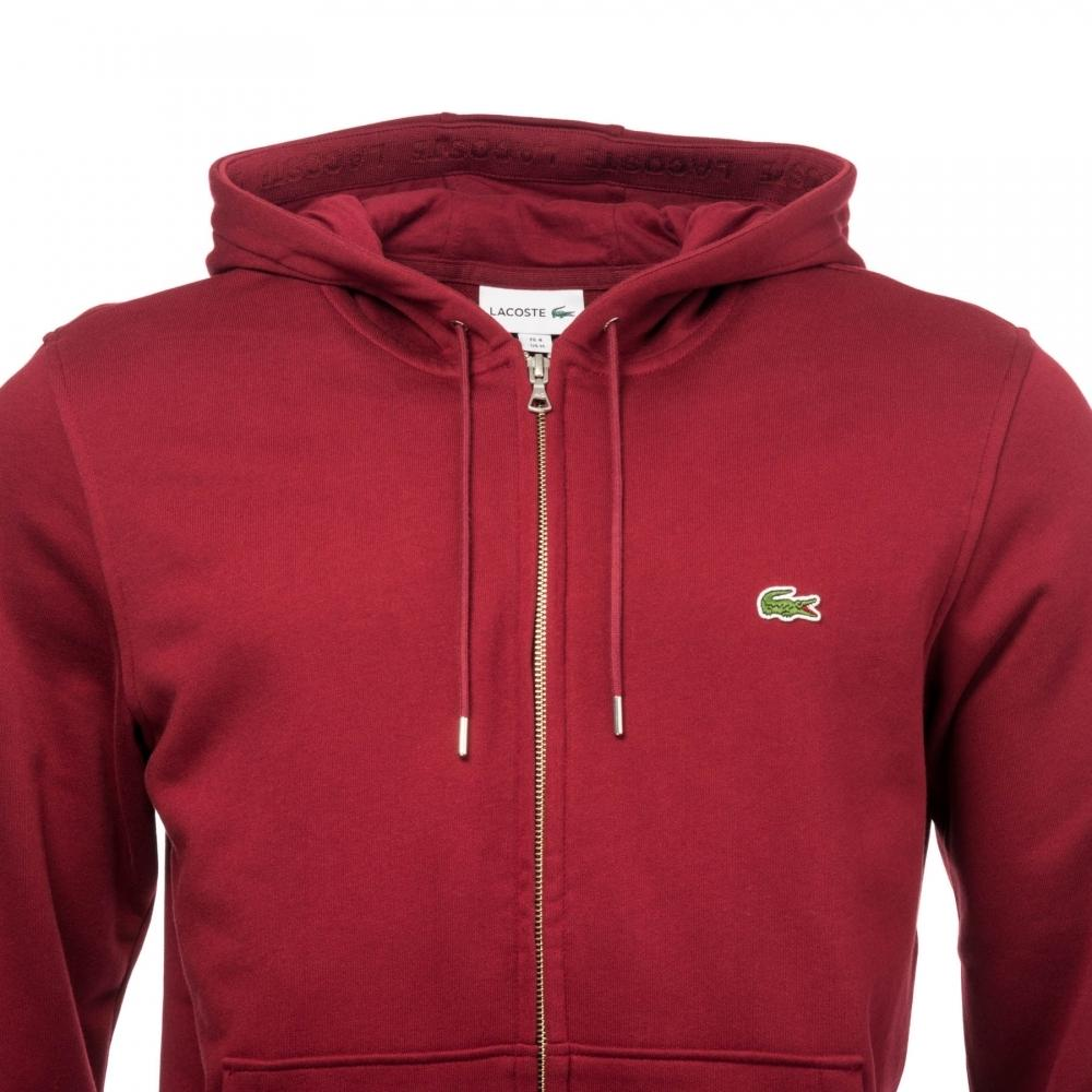 2a16240a82 Lyst - Lacoste Mens Hooded Sweat Top in Red for Men