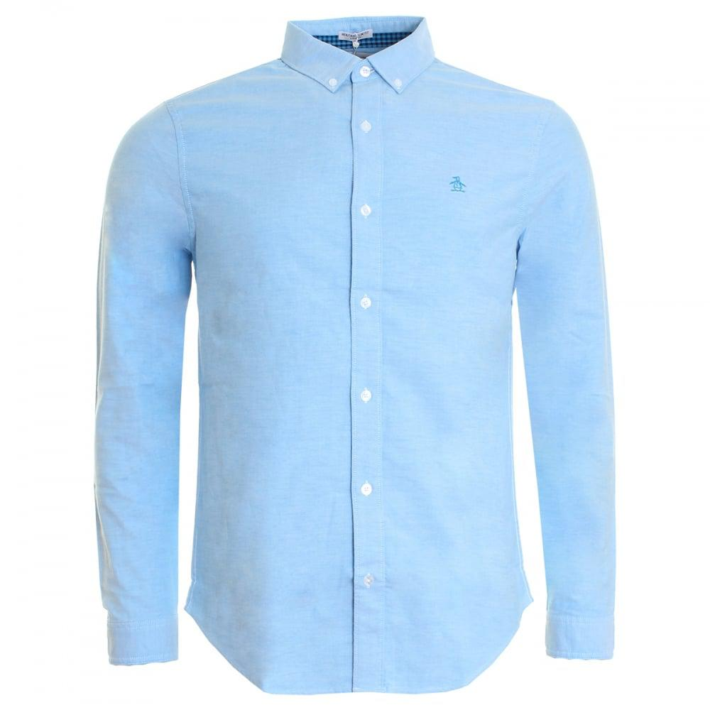 Original penguin core oxford mens shirt in blue for men lyst for Mens blue oxford shirt