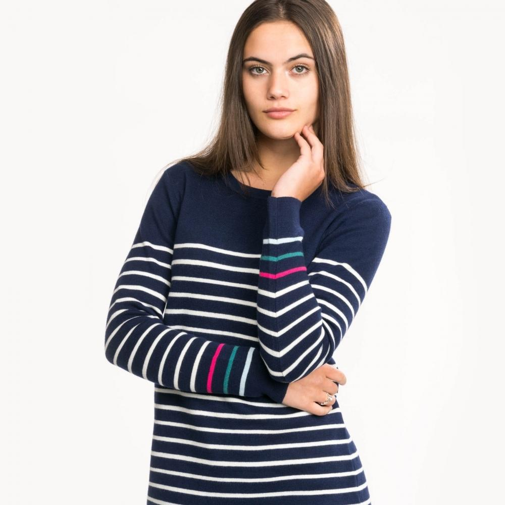 Joules Ladies Estelle Knitted Long Sleeve Tunic Navy /& Cream stripe