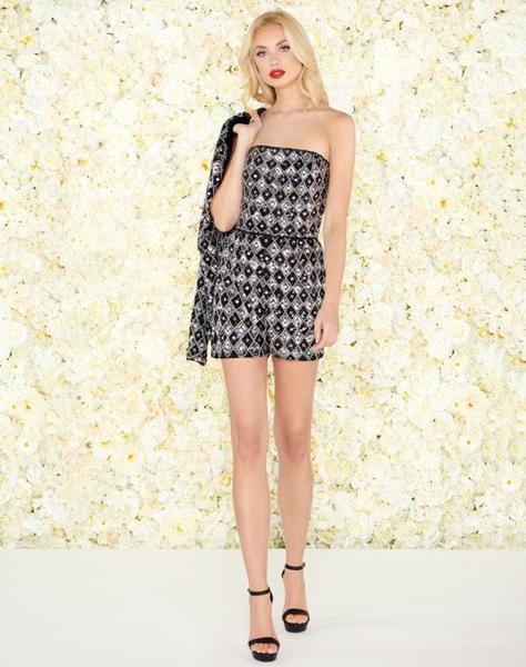 27d449118a0 Lyst - Mac Duggal Black White Red - 4639r Beaded Romper With ...