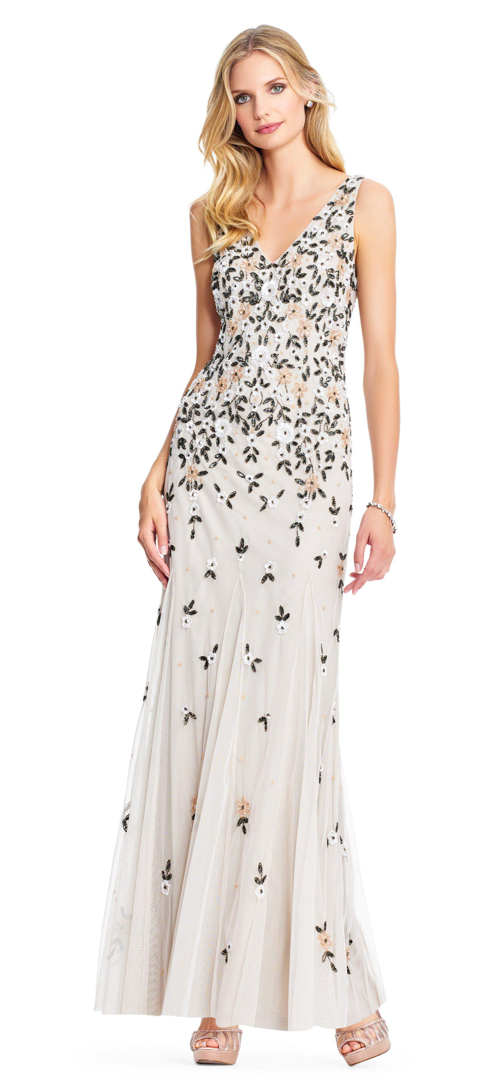 8f384a05877dc Adrianna Papell Ap1e203692 Beaded And Floral Applique Trumpet Dress ...