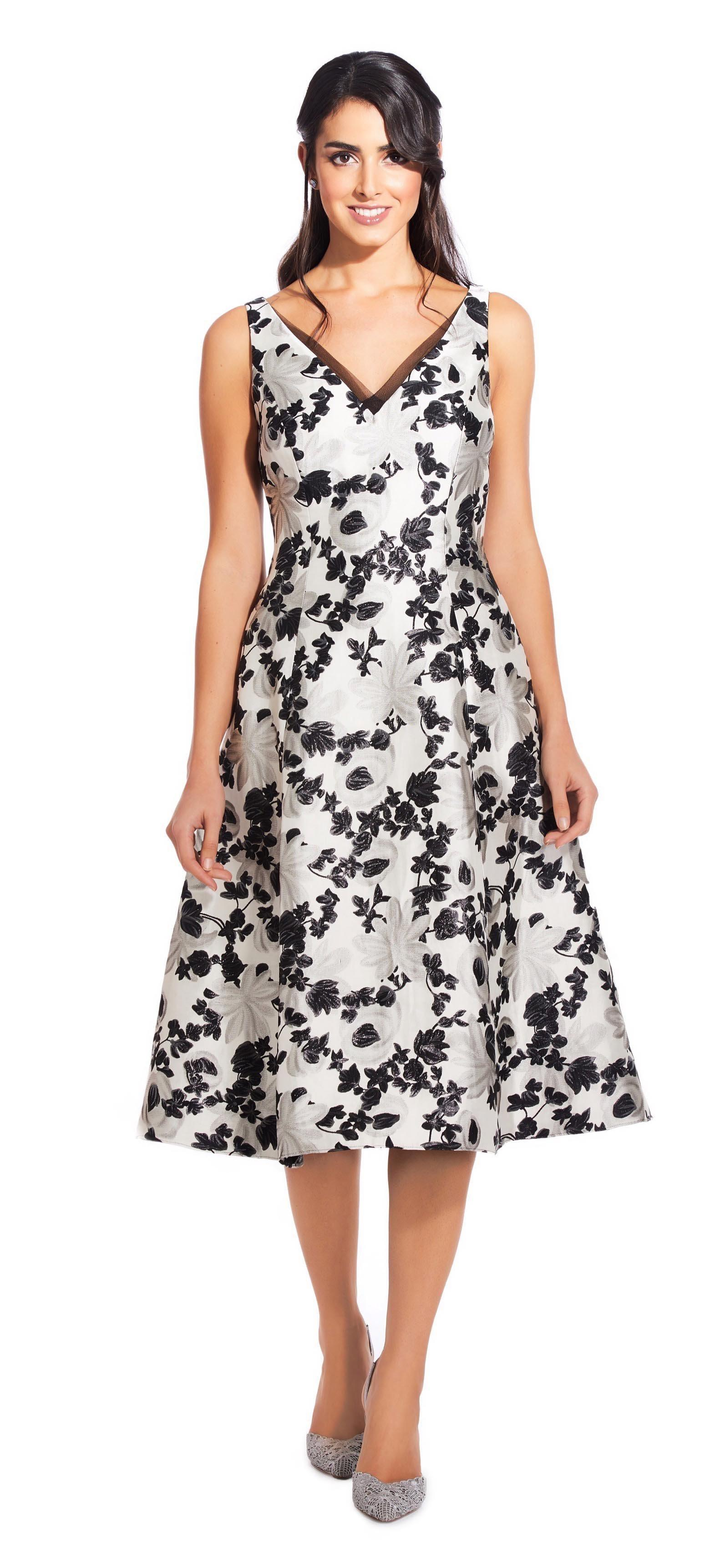 cb85834c Adrianna Papell. Women's Black Ap1e204997 Floral Metallic V-neck Dress.  $180 From Couture Candy