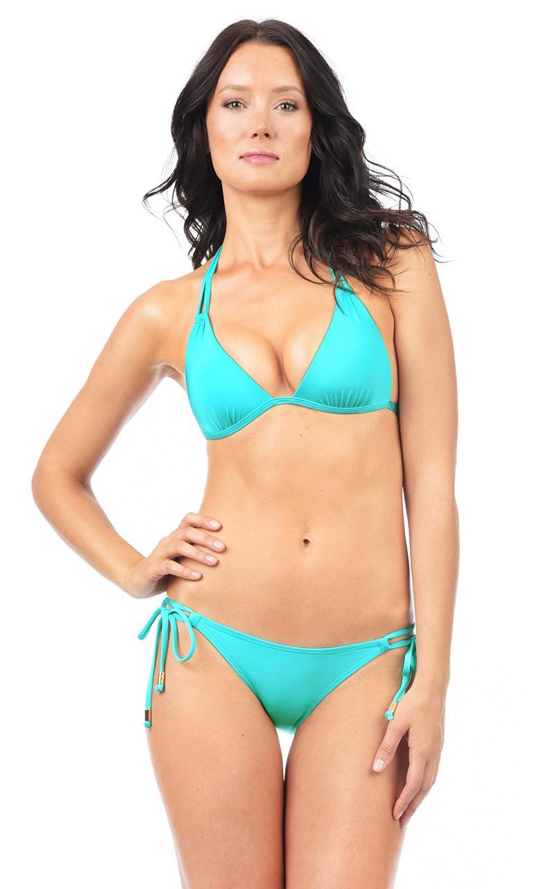 Voda swim Turquoise Envy Push Up Double String Bikini Top ...