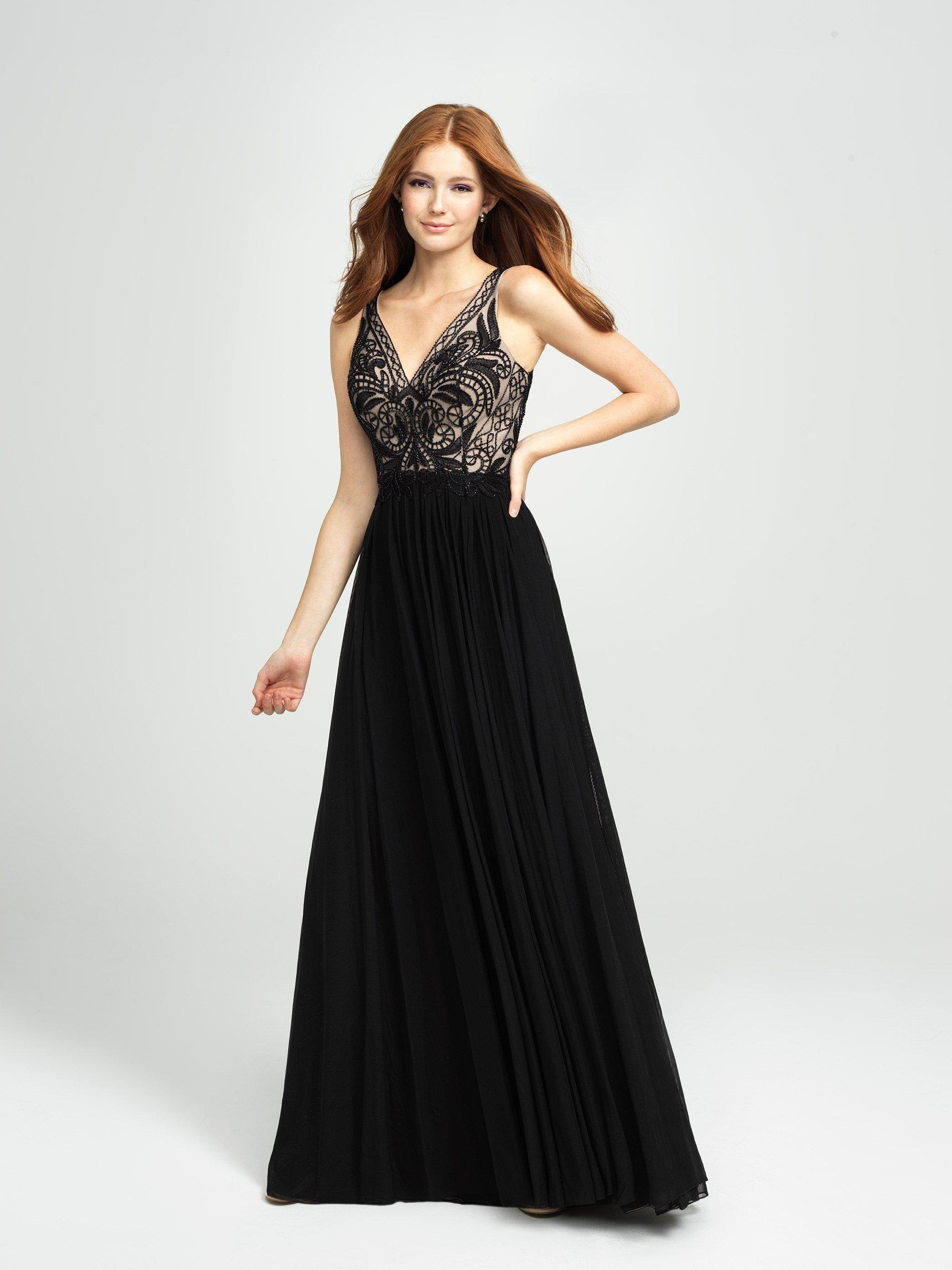 912a5c9ee9d Madison James. Women s Black 19-108 Asymmetrical Embroidered High Slit Gown