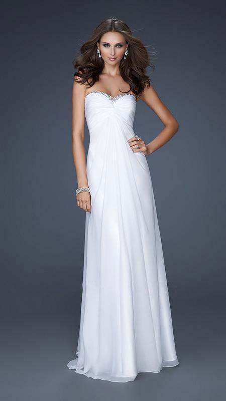 6292b32d557 La Femme. Women's White 17443 Beaded Embellished Sweetheart Neckline  Chiffon Gown