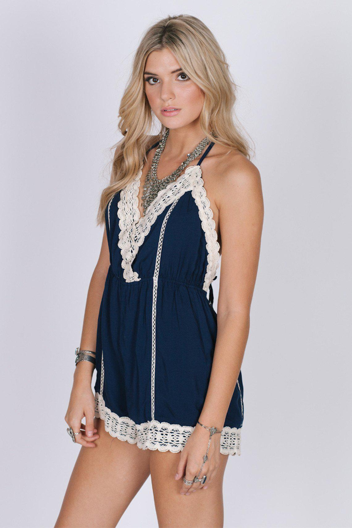 81deca3c051 Lyst - Raga Close To Me Romper in Blue