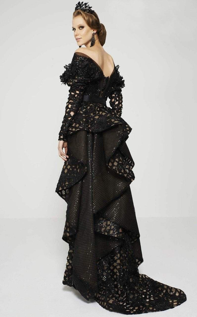 Lyst - Mnm Couture 2389 Long Sleeved Lace Sequined Structured ...