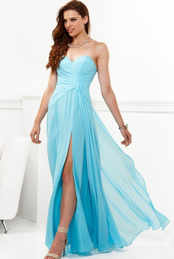 Lyst - Faviana Strapless High Slit Chiffon Long Evening Gown E in Blue