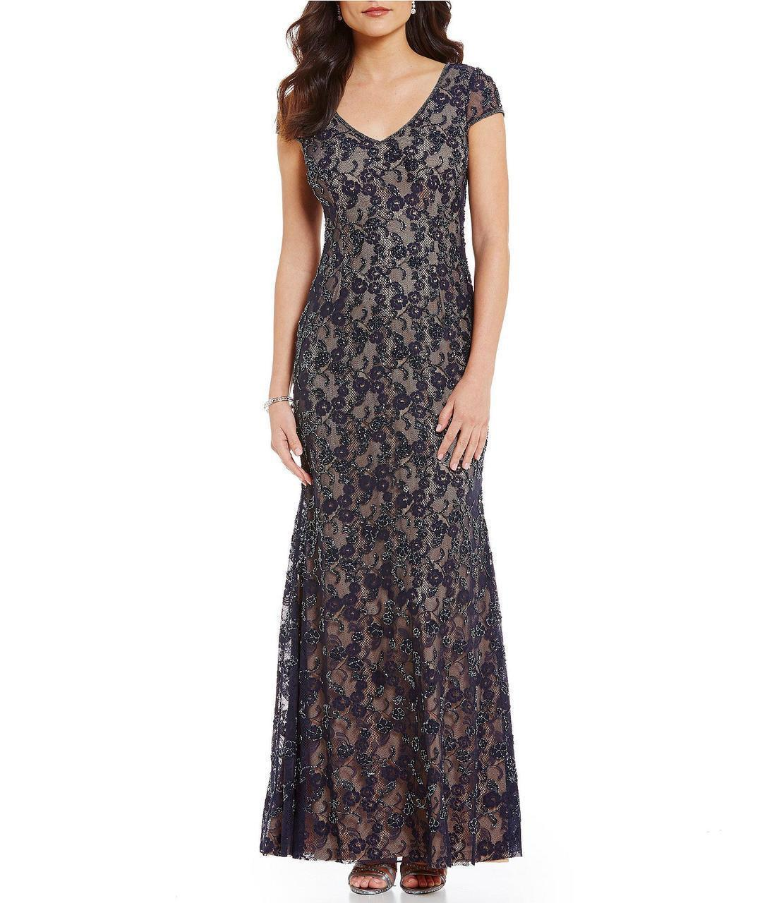 2d057253156d2 Lyst - Adrianna Papell - Cap Sleeve Lace Dress Ap1e201345 in Blue