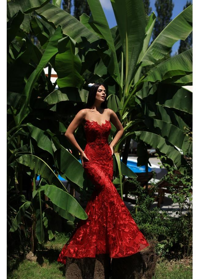 b09d6b1f497 Tarik Ediz 50501 Strapless Illusion Floral Lace Mermaid Prom Gown in ...