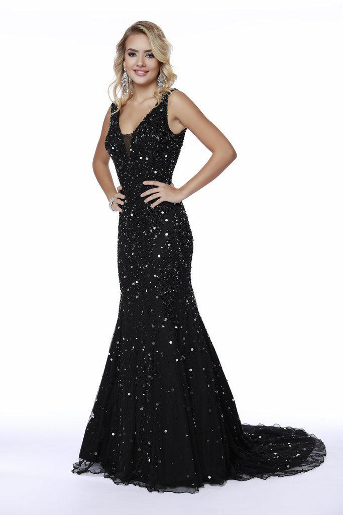 1d65483e5b0 Shail K. Women s Black 12243 Sparkly Sequin V Neck Mermaid Prom Gown.  440  From Couture Candy