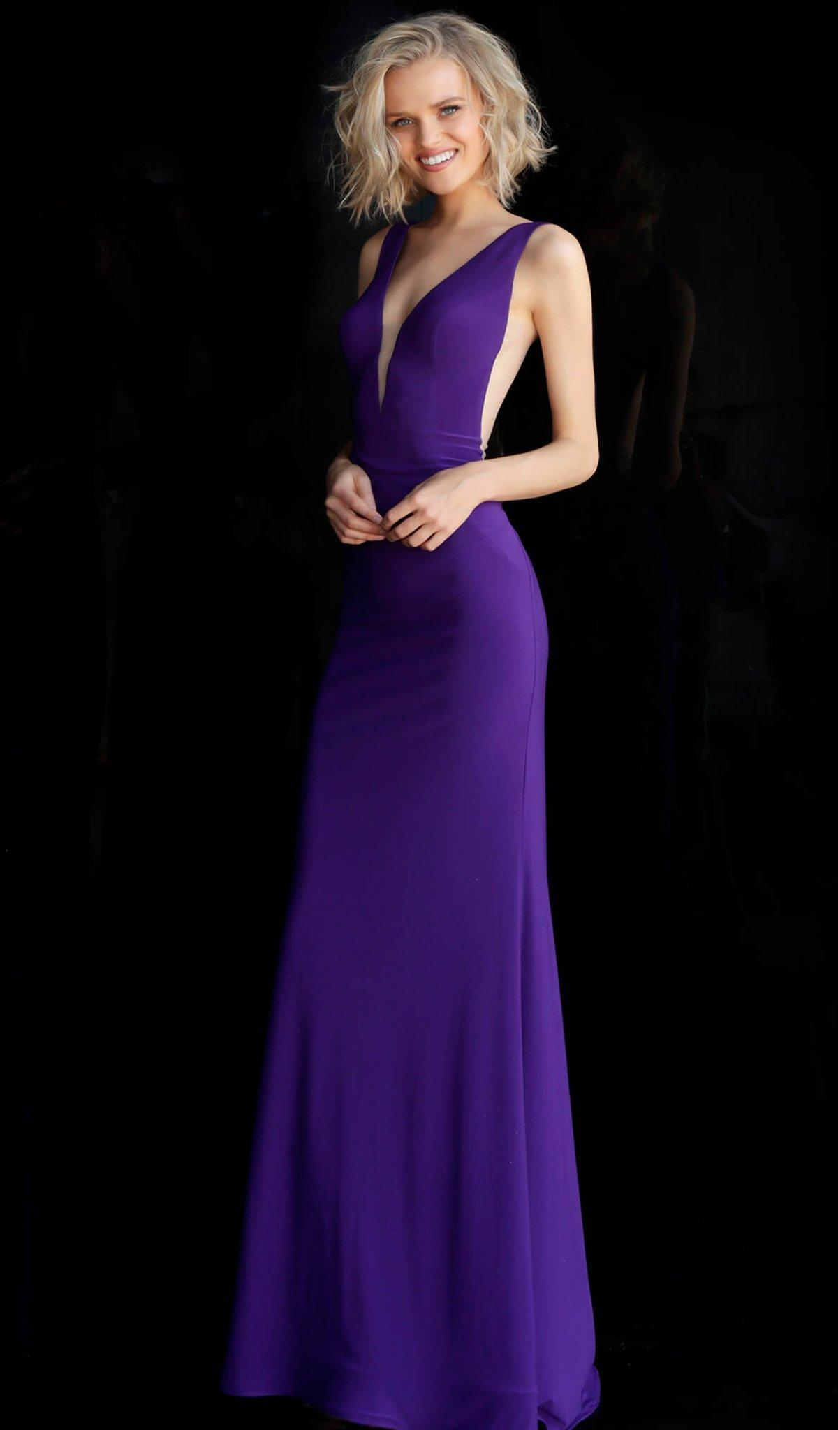 32857b37 Jovani. Women's Purple Jvn67096 Sleeveless Deep V-neck Jersey Trumpet Dress.  $334 From Couture Candy