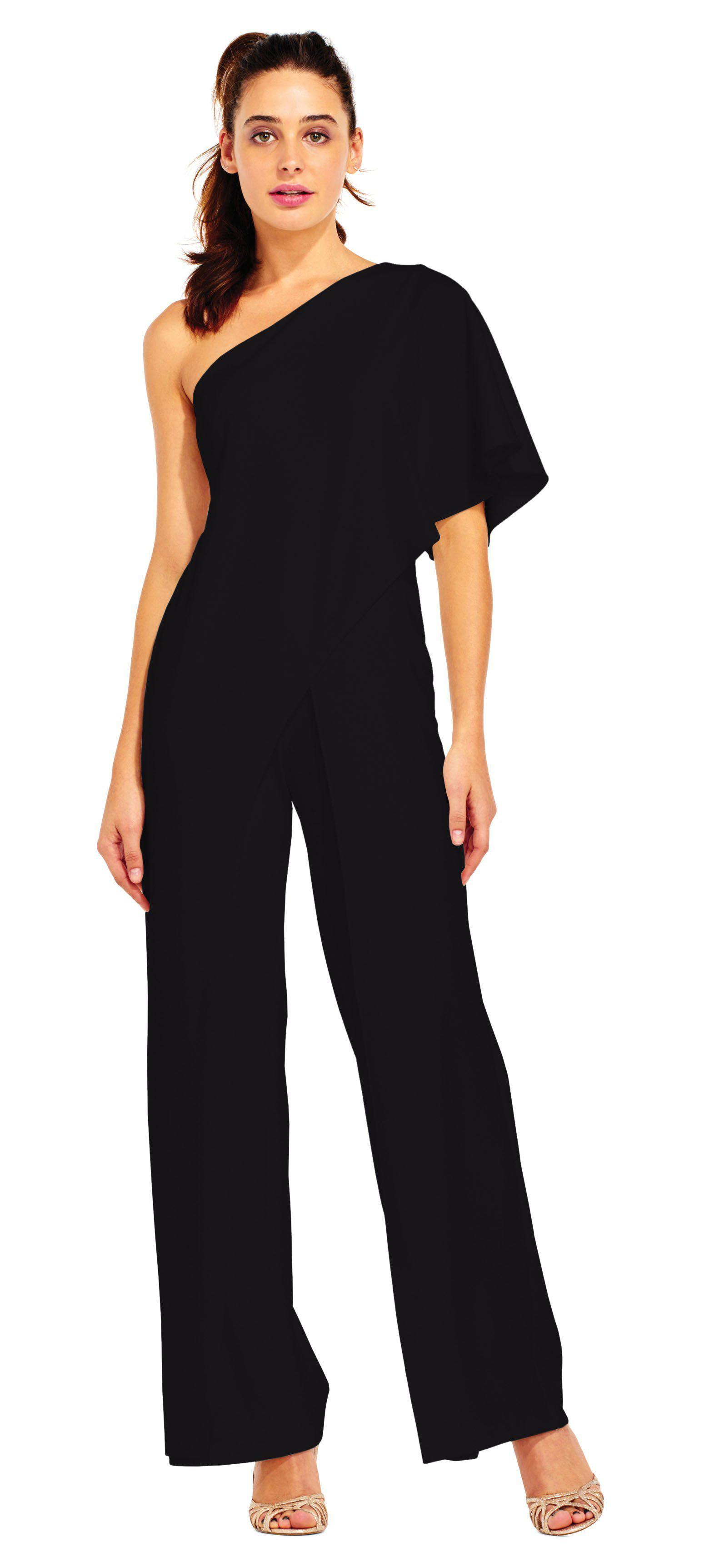 12f3db7e092 Adrianna Papell. Women s Black Ap1e201788 One Shoulder Asymmetrical Cape  Jumpsuit
