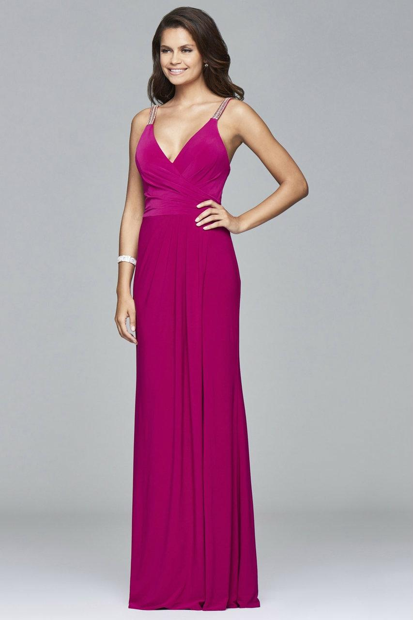 Lyst - Faviana Long Jersey Dress With Fitted Bodice And Beaded Strap ... 963ec08a6