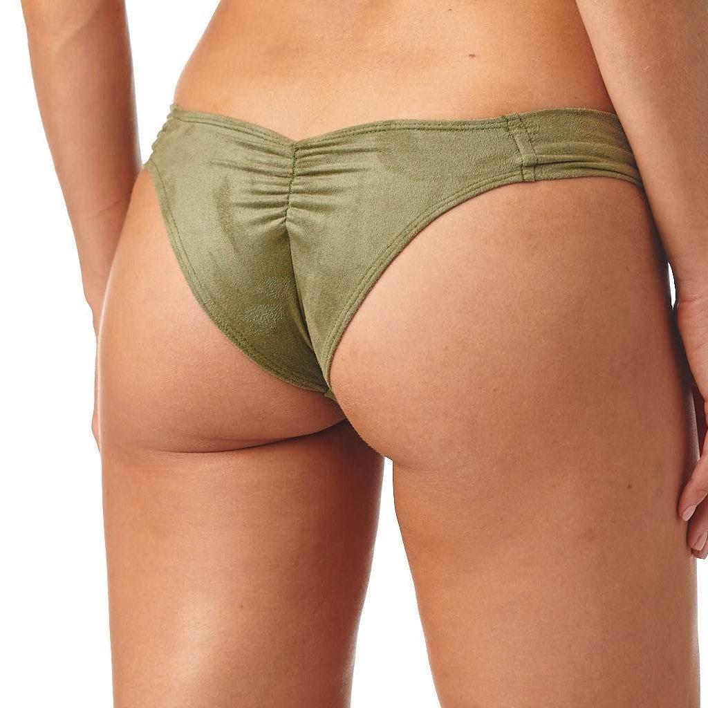 191cfaba12855 Montce Swim - Green Olive Faux Suede Additional Coverage Uno Bikini Bottom  - Lyst. View fullscreen