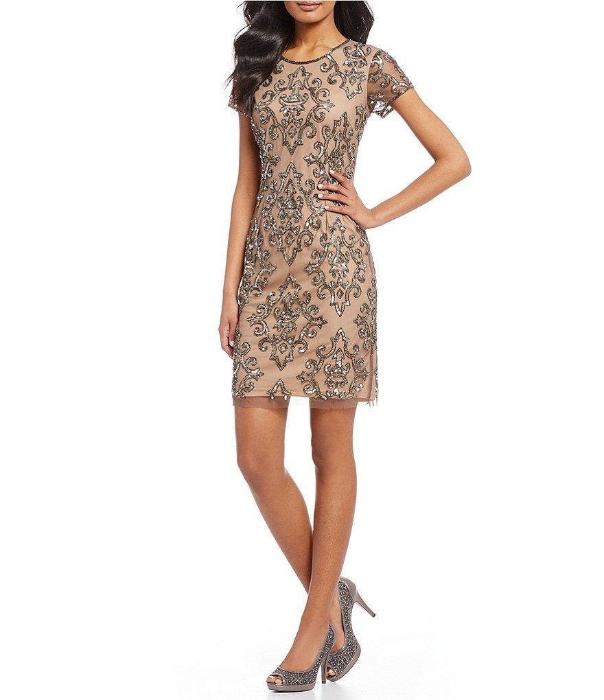 3013c95a996 Adrianna Papell. Women s Natural Ap1e202291 Embellished Jewel Cocktail Dress