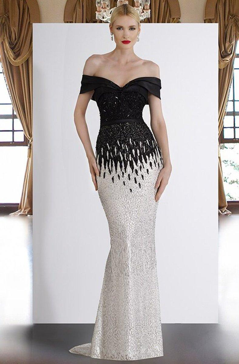 A18375 Draped Off Shoulder Mermaid Gown In Black White