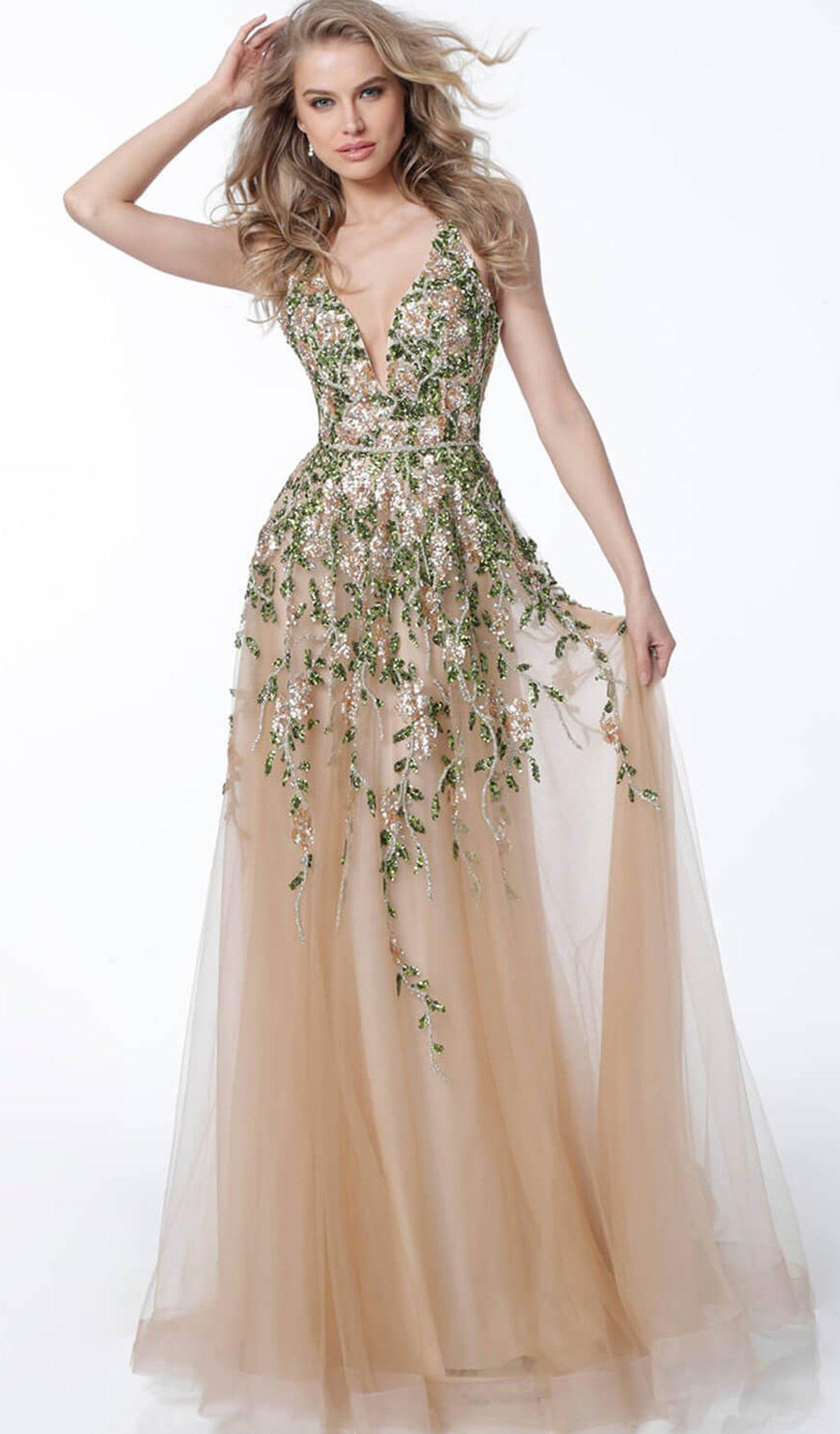 4c9378653f Jovani 60800 Floral Embroidered Crisscross-strapped Gown - Lyst