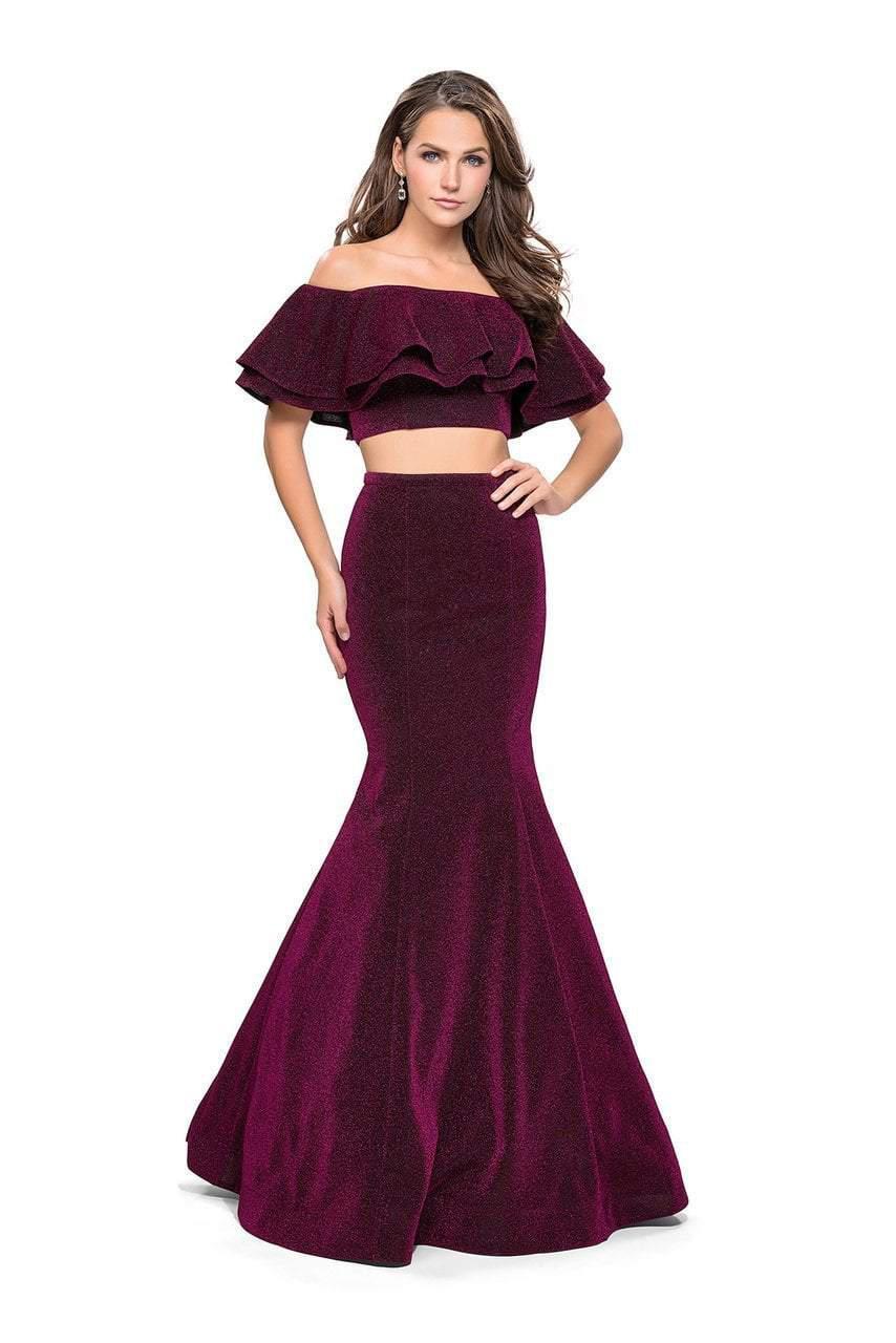 d4306f33fff La Femme. Women s Purple 26324 Two Piece Ruffled Off-shoulder Jersey  Mermaid Dress