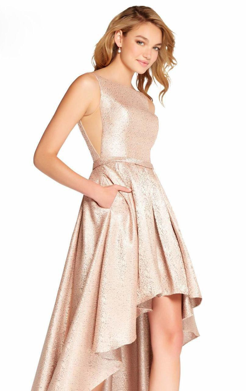 Sleeveless Bateau Fitted High Low Dress 60124 1 Pc Blush In Size 4 Available
