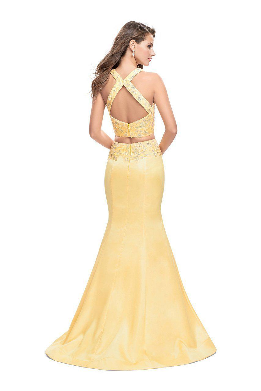 Lyst - La Femme 26311 Sculpted Two-piece Beaded Mikado Evening Gown ...