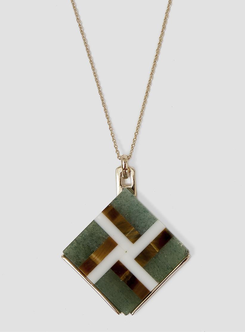 Helena Rohner Square Mosaic Stone Pendant Goldplated & Green