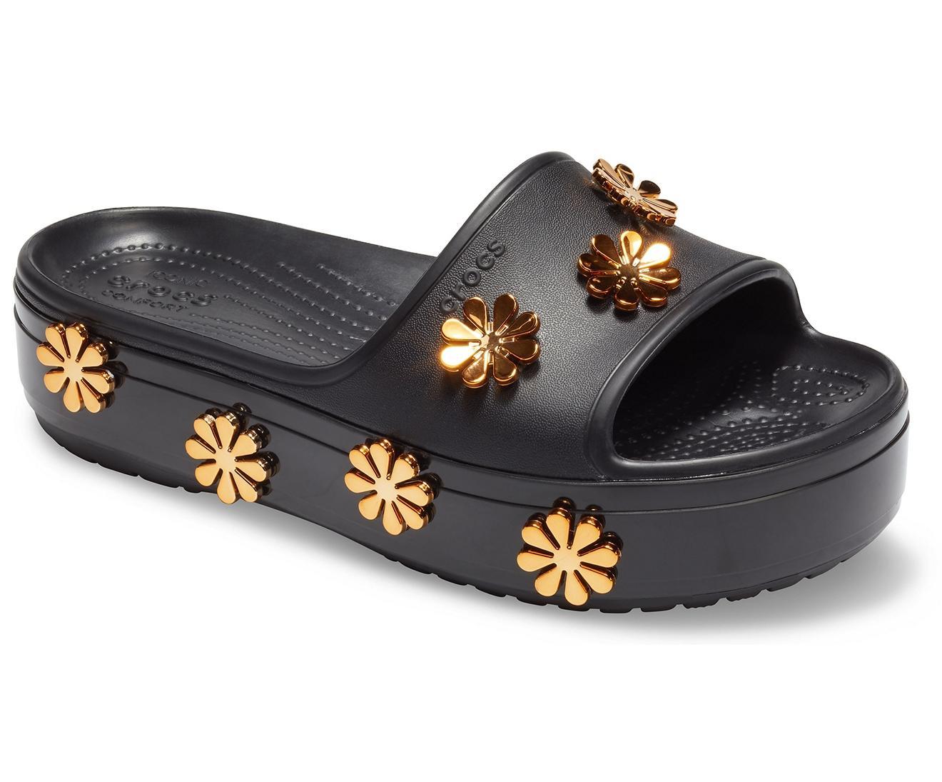 Crocs™ Metallic Blooms Black Platform