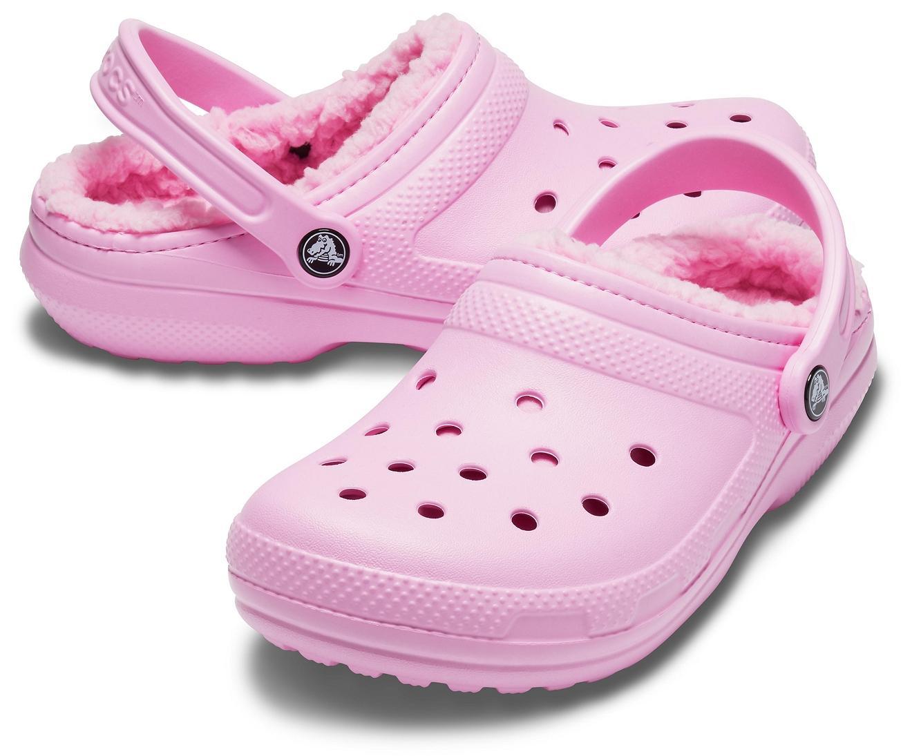 fur lined crocs pink Shop Clothing
