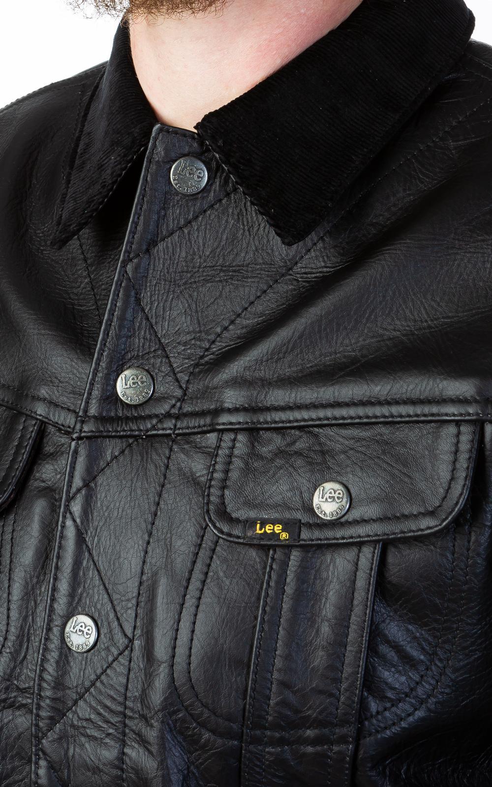 Lee Jeans Leather Storm Rider Jacket Black for Men