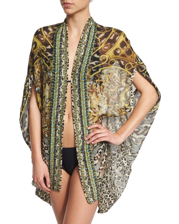 Camilla Open-front Printed Silk Cardigan/cape Coverup in ...
