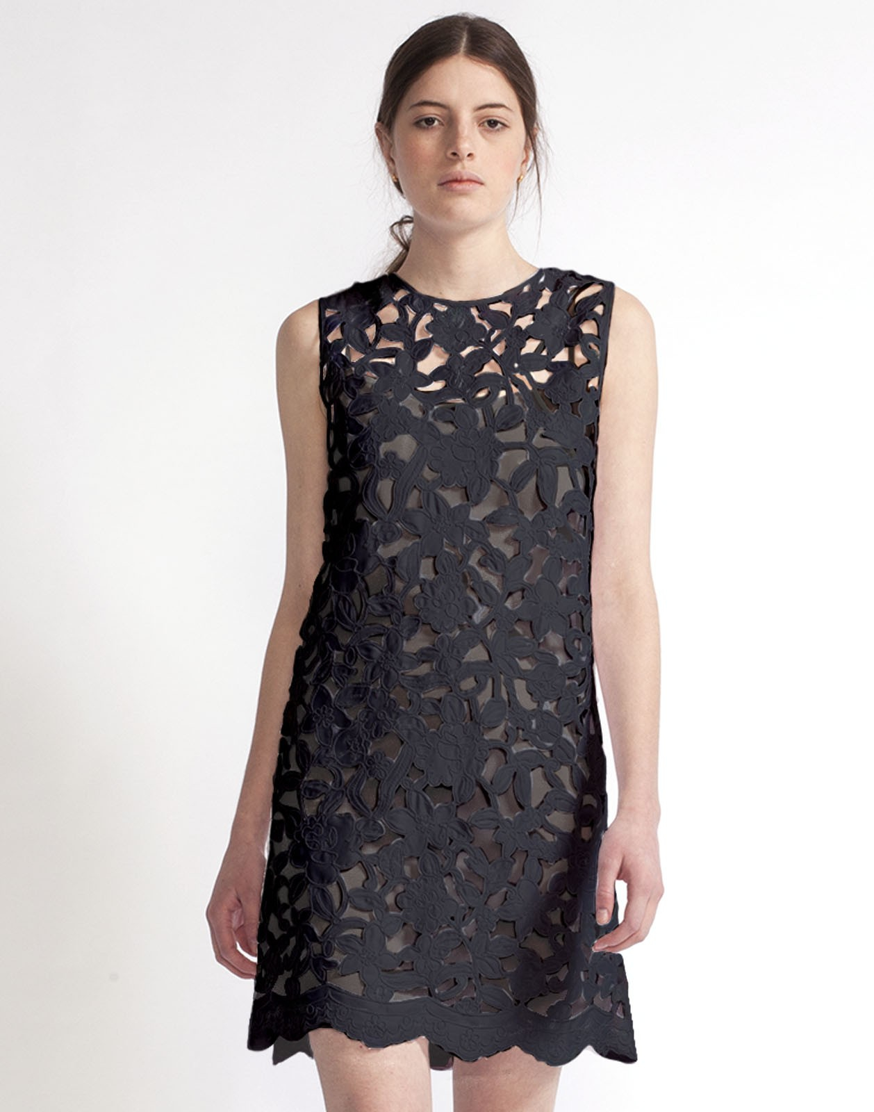 Cynthia Rowley Floral Lace A Line Dress In Black Lyst