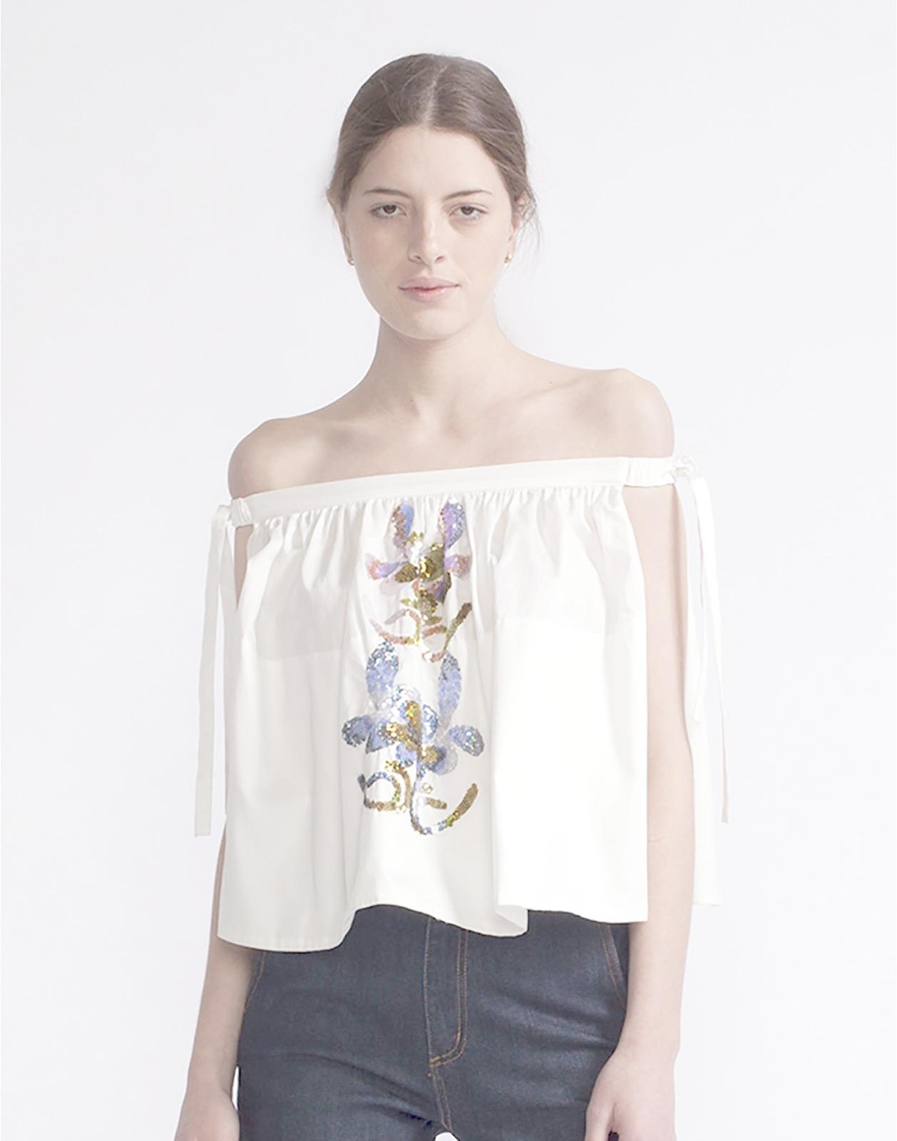 e2e5998f666e9e Lyst - Cynthia Rowley Off-shoulder Floral Sequin Top in White