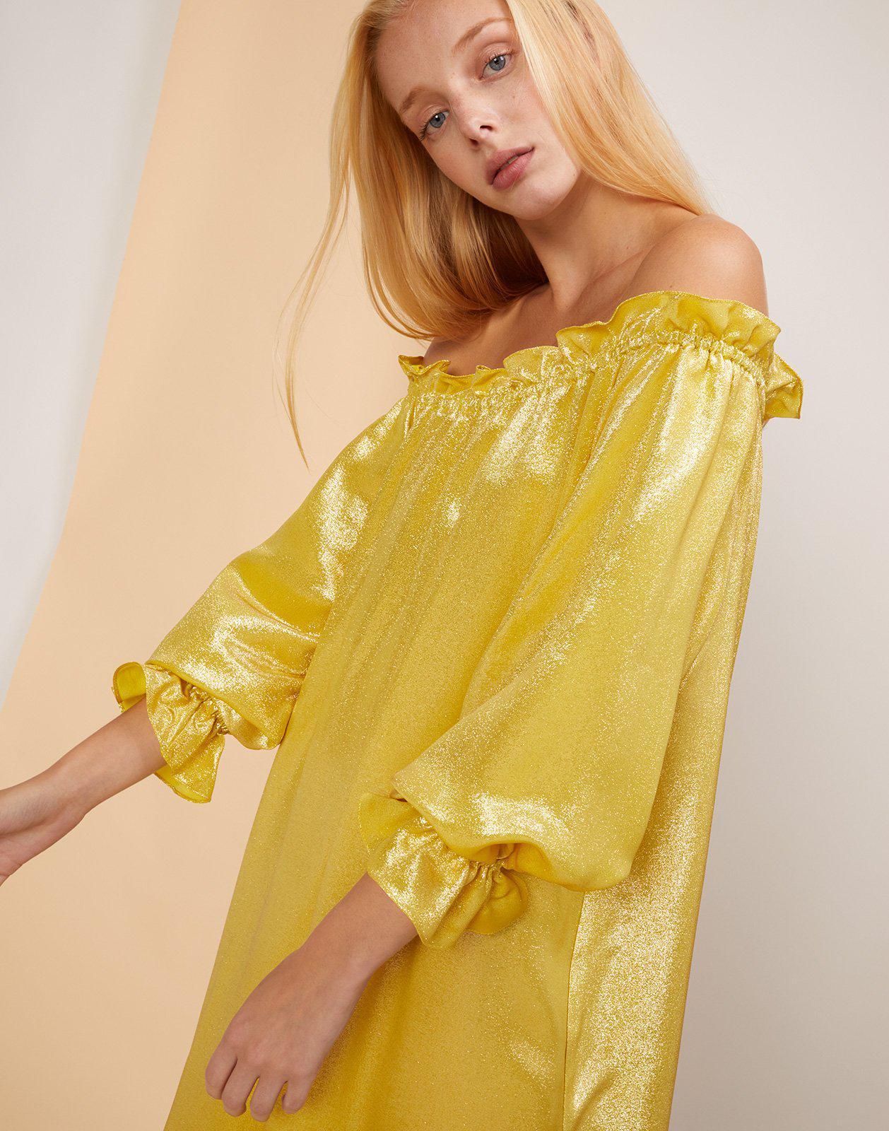 858c4e562b Lyst - Cynthia Rowley Shanley Off The Shoulder Shimmer Dress in Yellow