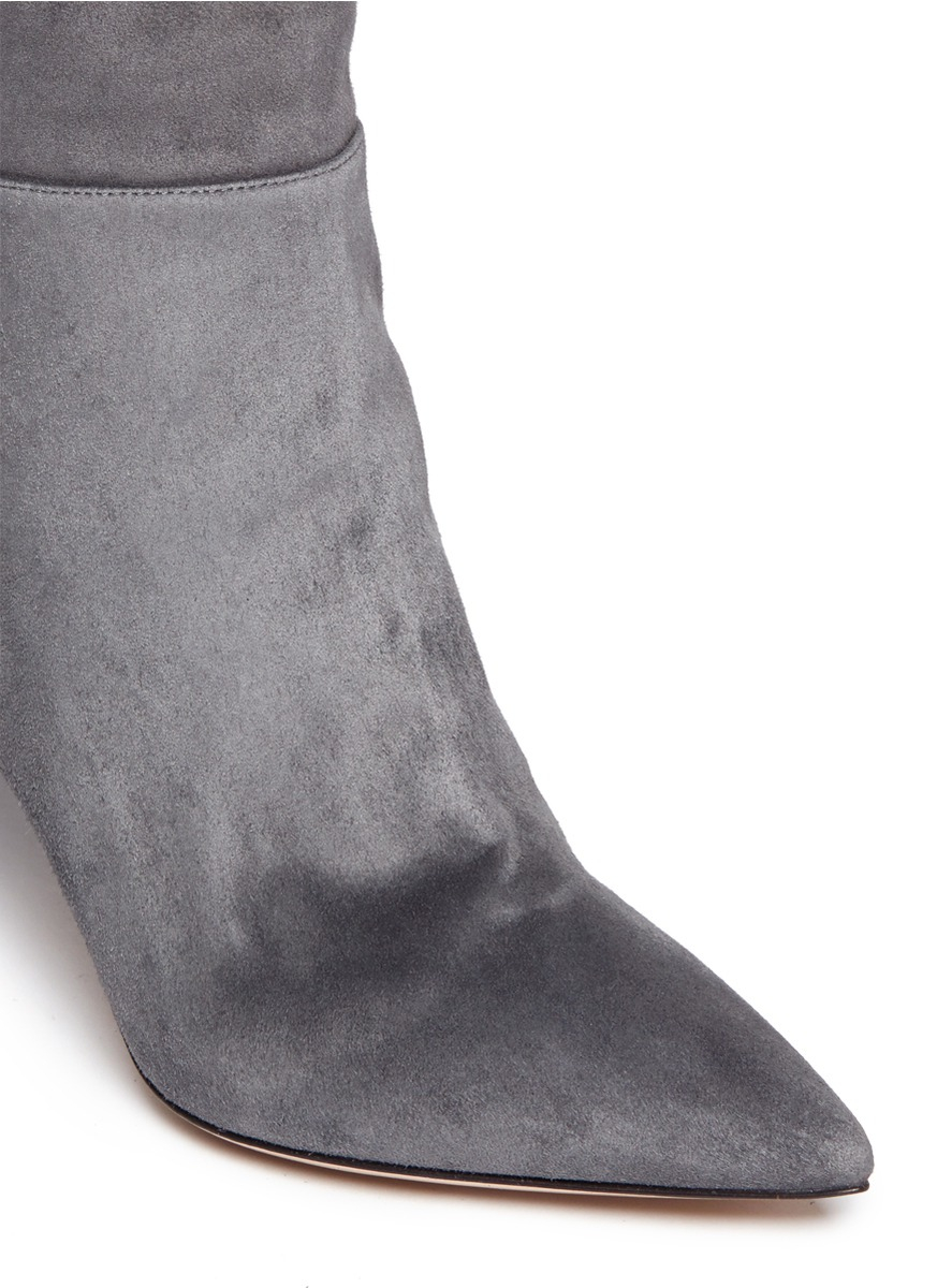 gianvito thigh high suede boots in gray lyst