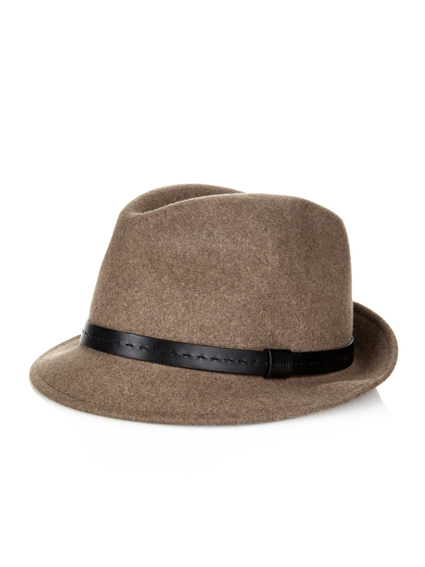 885e1abecf2 Gucci Leather-Band Felt Trilby in Natural for Men - Lyst