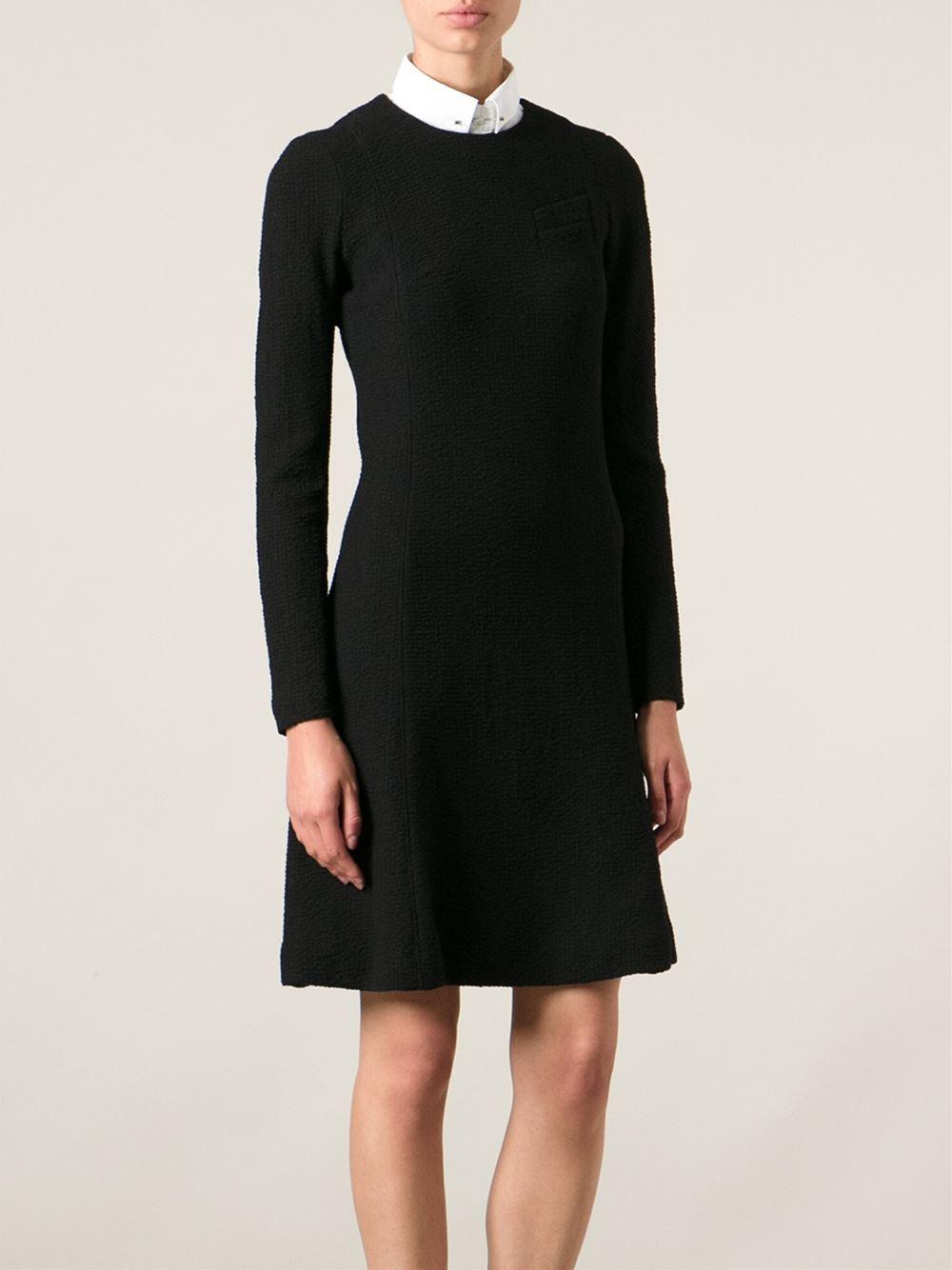 carven 39 seersucker 39 dress in black lyst. Black Bedroom Furniture Sets. Home Design Ideas