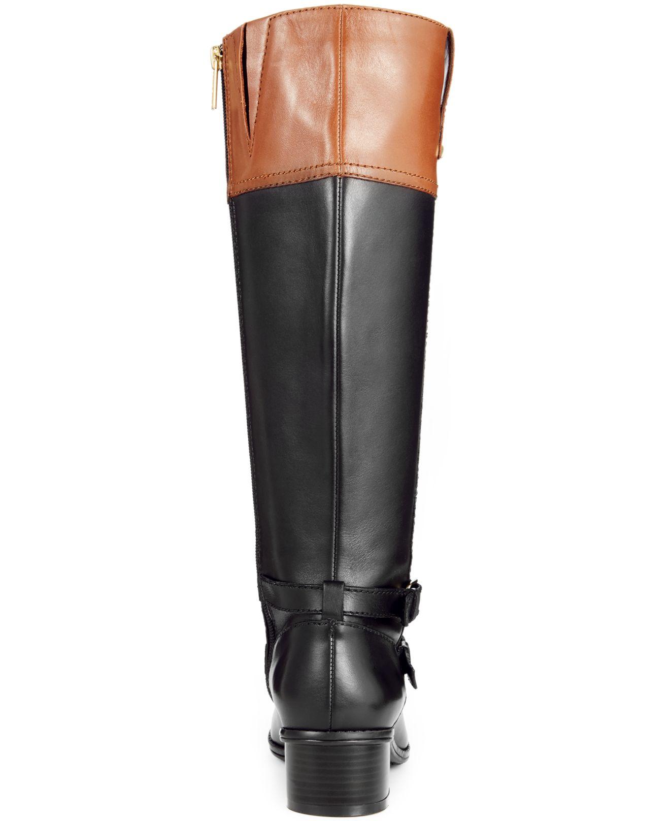 38f00b2d91d Bandolino Black Carlotta Wide Calf Riding Boots - A Macy'S Exclusive