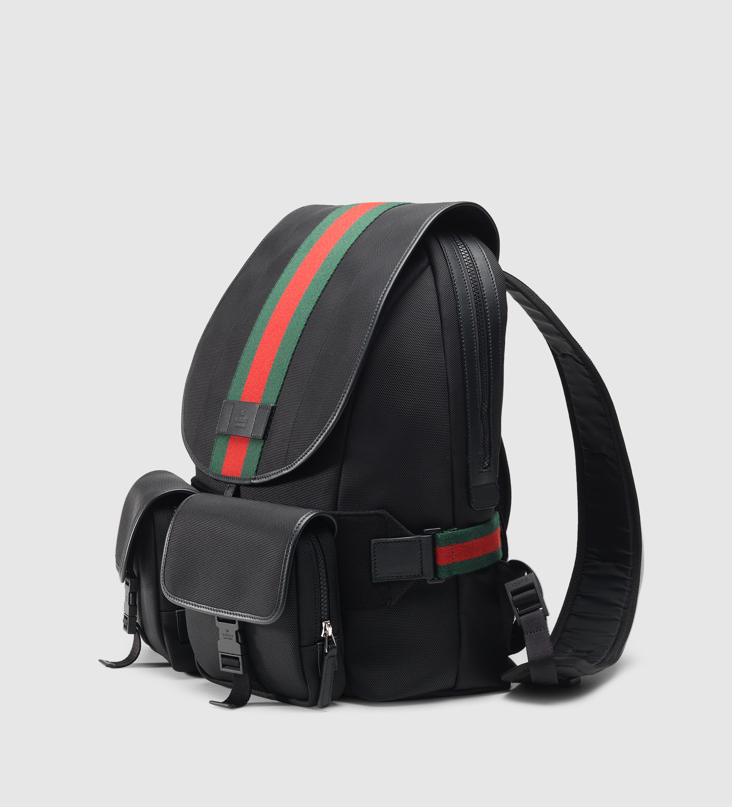 6d4b8eed3943 Lyst - Gucci Web Band Canvas Backpack in Black for Men