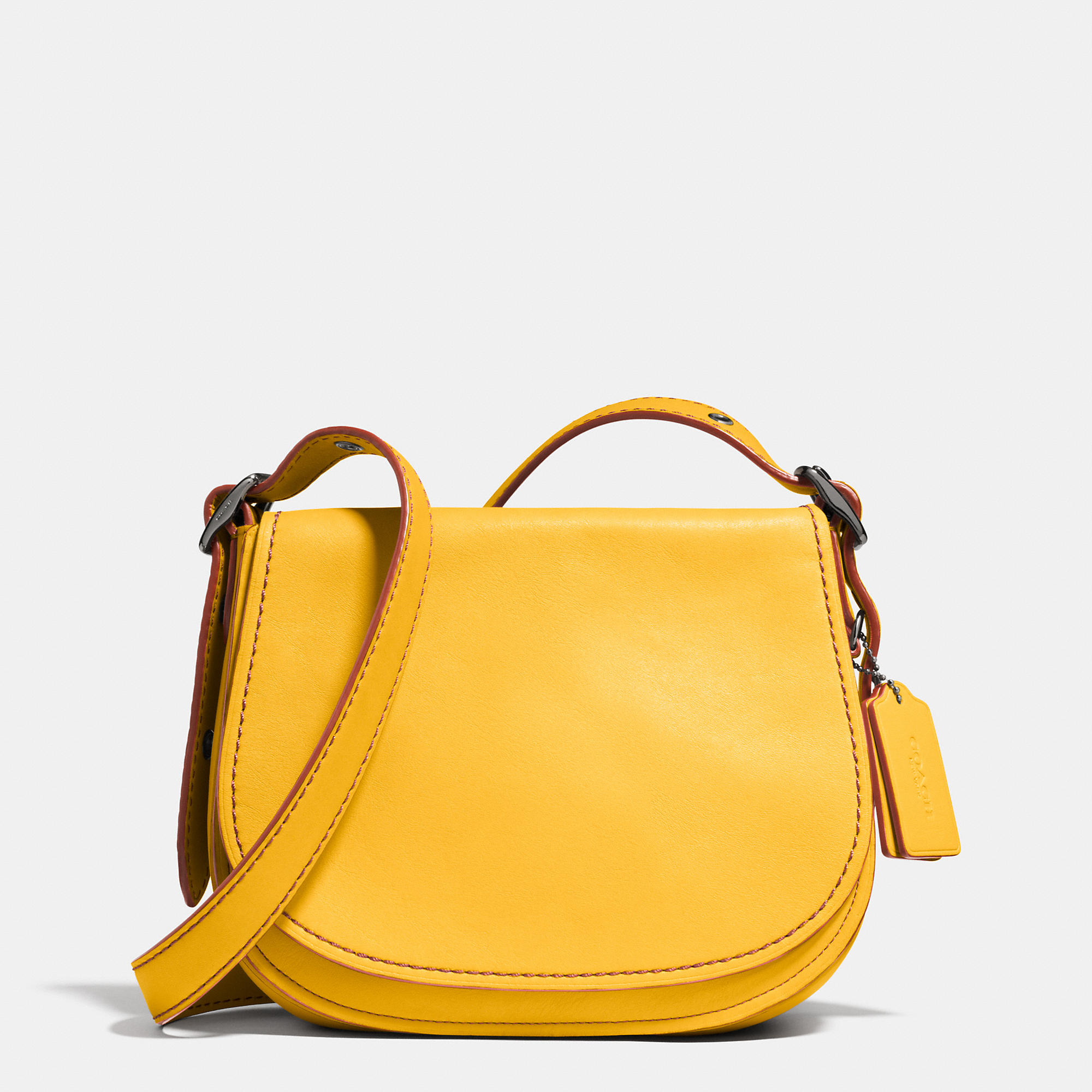66f85dd83f ... authentic lyst coach saddle bag 23 in glovetanned leather yellow 705a6  95a74