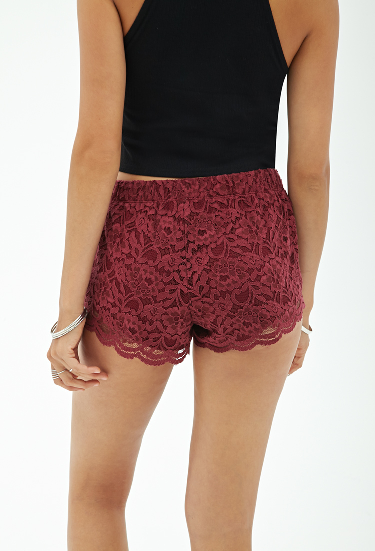 Forever 21 Scalloped Lace Shorts in Red | Lyst