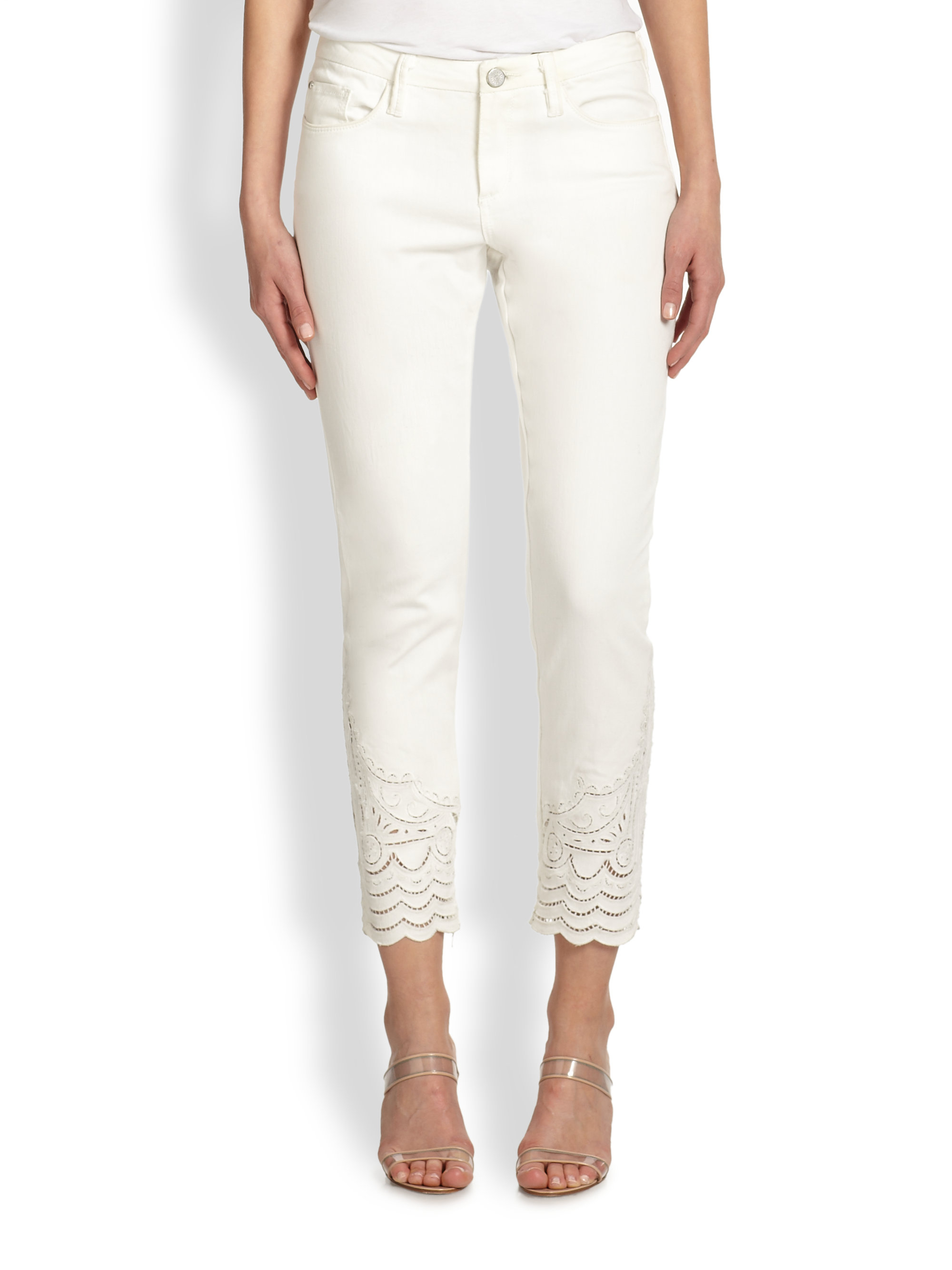 Marchesa voyage Embroidered Capri Pants in White | Lyst